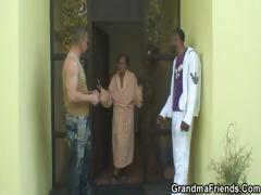 Two dudes have fun with granny